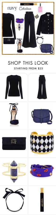 """""""Navy and Celadon"""" by caticorn16 ❤ liked on Polyvore featuring Theory, Marina Rinaldi, Gianvito Rossi, A.N.A, Dune, Évocateur, Kendra Scott, Tory Burch, French Connection and Elizabeth and James"""