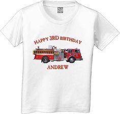Happy Birthday Firetruck Tshirt by CustomTeesForTots on Etsy, $15.00