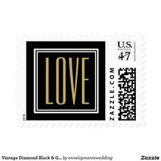 Vintage Diamond Black & Gold Wedding Invitation Postage Stamp