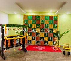 Wooden cradle with marigold flowers by Décor by Krishna-Hyderabad, Chennai, Bangalore. Art Party Decorations, Housewarming Decorations, Baby Shower Decorations For Boys, Diwali Decorations, Flower Decorations, Birthday Decorations, Desi Wedding Decor, Wedding Wall, Indian Wedding Decorations
