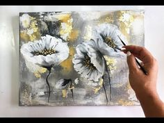 Flowers painting on canvas/ Gold & Silver Leaf/Demo /Acrylic Technique on canvas – Painting Easy Flower Painting, Acrylic Painting Flowers, Acrylic Painting Techniques, Abstract Flowers, Acrylic Painting Canvas, Acrylic Art, Flower Art, Canvas Art, Flowers On Canvas