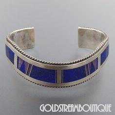 Native American John Charley Navajo Sterling Silver Lapis Lazuli Inlay Wavy Cuff Bracelet