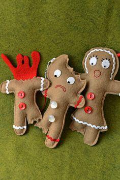 Gingerbread Felt Ornament Christmas Holiday Set by crookedsister Zombie Christmas, Christmas Craft Fair, Felt Christmas Ornaments, Handmade Christmas, Holiday Crafts, Christmas Holidays, Christmas Decorations, Halloween Ornaments, Felt Crafts