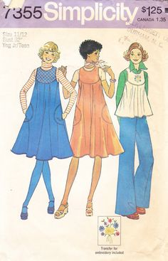1976 Jumper or Top Vintage Pattern, Simplicity 7355, Swingy, Sleeveless Tent Dress or Flippy Top, Curved Yoke, Embroidery Trim  I