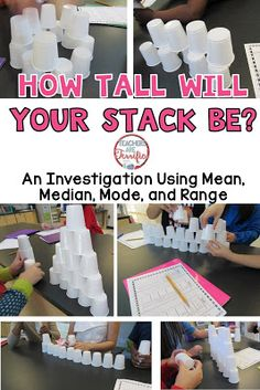 One of our favorite lab events- It's all about stacking cups, but also calculating mean, median, mode, and range! Math Stem, Stem Science, Mad Science, Science Ideas, Mean Median And Mode, Stem Classes, Engineering Design Process, Science Topics, Stem Challenges