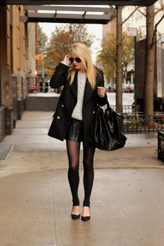 leather shorts and sleek top with leggings