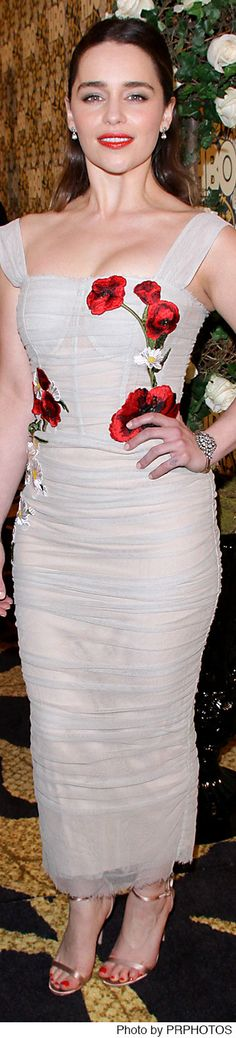Emilia Clarke wearing a floral and sleeveless Dolce & Gabbana tulle dress – HBO's Post 2016 Golden Globe Awards Party