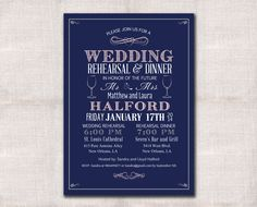 Wedding Rehearsal Dinner invitation custom by DarlinBrandoPress, $18.00