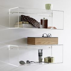 5 Ways To Use Acrylic Decor Throughout Your House // Bathroom - These clear acrylic shelves make your essentials appear to float. Cube Shelves, Wall Mounted Shelves, Storage Shelves, Floating Shelves, Storage Boxes, Shelf Wall, Glass Shelves, Le Palace, Acrylic Furniture
