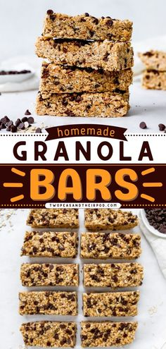 These no-bake Peanut Butter Chocolate Chip Granola Bars are the best homemade granola bars! They are satisfying, sweet, and a great on-the-go breakfast or back-to-school lunch idea. This delicious and healthy recipe is also vegan! Healthy Granola Bars, Homemade Granola Bars, Homemade Brownies, Chocolate Chip Granola Bars, Mini Chocolate Chips, Creamy Peanut Butter, Chocolate Peanut Butter, Delicious Breakfast Recipes, Dinner Recipes