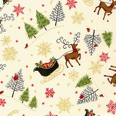 Novelty Christmas - Santa's Sleigh - Ivory/Gold  'Novelty Christmas' collection by The Henley Studio for Makower UK.