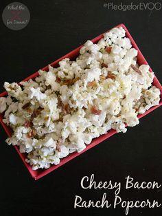Cheesy Bacon Ranch Popcorn | MomsTestKitchen.com | #PledgeforEVOO #ad