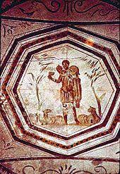 The Good Shepherd. Early Christian catacomb art