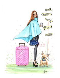 Jet set moda Ilustración bosquejo de moda por RongrongIllustration