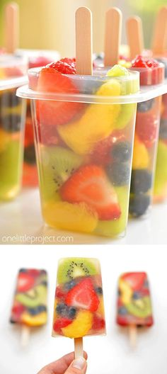 Fresh fruit popsicles fruit salad ice pops healthy snacks and treats recipes {the best and yummiest! Healthy Snacks To Buy, Easy Healthy Recipes, Dinner Healthy, Health Recipes, Healthy Food For Kids, Keto Dinner, Recipes With Fruit, Easy Cooking For Kids, Best Snacks