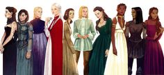 Women from Throne of Glass by Tasia M S. From left to right: Kaltain, Sorrel, Asterin, Manon, Elide, Aelin, Lysandra, Nehemia, Nesryn and Sorscha