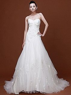 Sweetheart Appliqued Tulle Princess Bridal Gown with Bows 1008032 - USD $195.98 (like the back, not sure about the front)