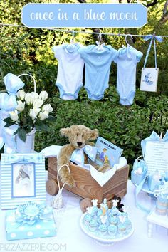 Perfect theme for a boy shower! Once in a Blue Moon!