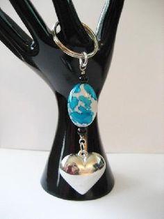 Puffy Silver Heart Keychain/Purse Clip $7.50
