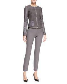 Armani Collezioni Front-Zip Leather Jacket & Tech-Cotton Triangle-Insert Leggings