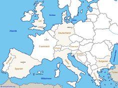 Reiseziele auf der Karte von Europa