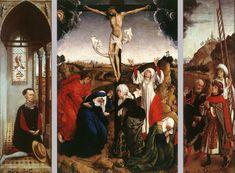 Rogier van der WEYDEN. Abegg Triptych  c. 1445  Oil on oak panel, 102 x 70,5 cm (central), 103 x 31 cm (each wing)  Abegg-Stiftung, Riggisberg near Berne. Shoes bottom right...