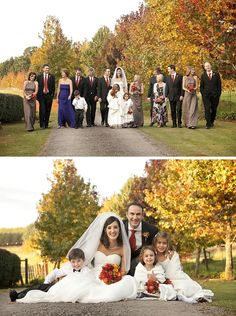 large pose with wife and grooms parents and kids........ picture of bride and groom with flower girls and ring bearer