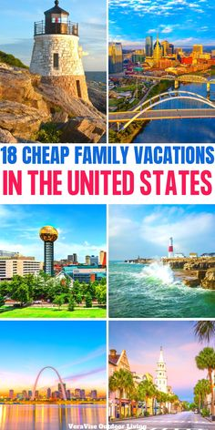 Don't break the bank on your  next family vacation. Check out these 18 cheap family vacations in the USA for an affordable family vacation..   #budgettravel #familytravel #usa Us Travel Destinations, Family Vacation Destinations, Vacation Spots, Vacation Ideas, Affordable Family Vacations, Vacations In The Us, Best Vacations, Best Places To Vacation, Cheap Places To Travel