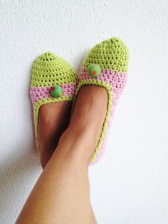 Pink Neon Green Ballet Flats House Shoes With Neon ♥ by cookieletta, $25.00