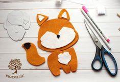 "We sew a cute children's toy from felt ""Fox"", photo No. Felt Animal Patterns, Felt Crafts Patterns, Felt Crafts Diy, Stuffed Animal Patterns, Felt Fox, Felt Mobile, Felt Dolls, Felt Ornaments, Diy Doll"