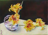 Gladiolas, Oil on canvas, http://www.facebook.com/SnejanaArt