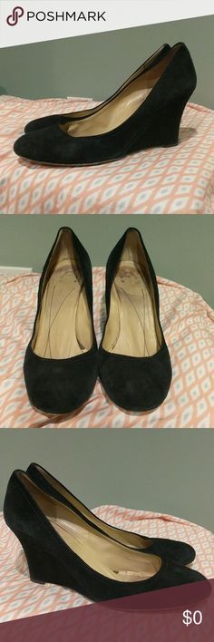 Kate Spade black wedges size 9.5 made in Italy These shoes are in fair used condition. The brand name on the heel has worn off but the brand on the sold is still there. Please see pictures. Size 9.5 kate spade Shoes Wedges
