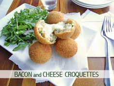 Oh, yes please!Bacon and Cheese Croquettes. A deeelicious warm snack, perfect to share with guests... also perfect for not sharing. ;)