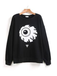 Black Long Sleeve Eye Print Loose Sweatshirt 17.00