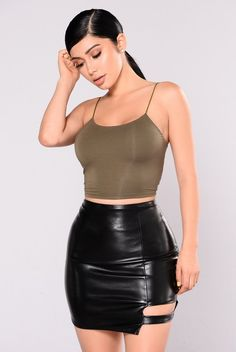 KiKi Cropped Top - Olive from Fashion Nova. Shop more products from Fashion Nova on Wanelo. Cropped Tops, Black Crop Tops, Cheap Crop Tops, Fashion Nova Tops, Fashion Nova Models, Classy Outfits, Cute Outfits, Stylish Outfits, Bodysuit Fashion