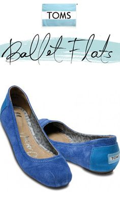 I really want these - TOMS Shoes Eliana Blue Suede Ballet Flats