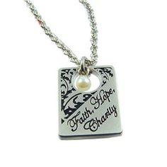 Faith, Hope, Charity Filigree Necklace