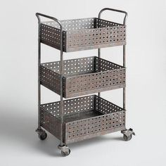 Featuring a laser-cut filigree design and a distressed zinc finish with rust-inspired accents, our metal cart has the look of a rare vintage find. Keep papers and supplies organized on its three roomy shelves atop convenient castors that swivel and lock. Decor, Furniture, Shelves, Rolling Cart, Adjustable Height Work Table, Affordable Home Decor, Office Supplies Logo, Storage Cart, Work Office Decor