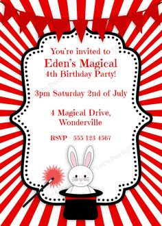 Magician Party Invitation Childrens Birthday Party Invites 6