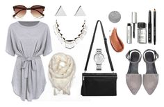 """Shades of Grey"" - Featuring Jennifer Meyer Jewelry, Tommy Hilfiger, River Island, Bobbi Brown Cosmetics, Crabtree & Evelyn, scarves, luxury and kidmohair.  #shadesofgrey #day #casual #grey #onthego #white #trendy #warmth #comfort #accessories #essentials #kidmohair #luxury #scarves #angoragoat #treatyourself"