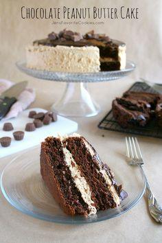 Chocolate Peanut Butter Cake from @Jen's Favorite Cookies   www.jensfavoritecookies.com