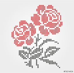 Towel embroidered cross - Buy this stock vector and explore similar vectors at Adobe Stock Cross Stitch Borders, Simple Cross Stitch, Cross Stitch Rose, Cross Stitch Flowers, Modern Cross Stitch, Cross Stitch Designs, Cross Stitching, Cross Stitch Patterns, Rose Embroidery