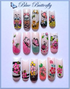 French Tip Nail Designs, French Tip Nails, Nail Art Designs, Beach Nail Art, Beach Nails, 3d Nails, Acrylic Nails, Funky Fingers, Butterfly Nail Art