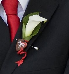Cala Lilly (which we call Kayla Lillies) & Red Guitar Pick Boutonniere