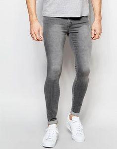 Dr Denim Jeans Dixy Extreme Super Skinny Grey Wash at ASOS. Tight Jeans Men, Grey Jeans Men, Leather Jeans Men, Superenge Jeans, Low Rise Skinny Jeans, Super Skinny Jeans, Mens Light Wash Jeans, Lined Jeans, Fashion Online