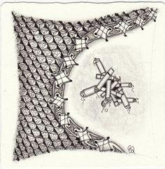 Ein Zentangle aus den Mustern Sigar, Trimonds, XYP,  gezeichnet von Ela Rieger, CZT