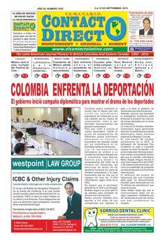 Semanario contacto directo edición 4 de septiembre 2015  Periódico contacto directo edición 4 de septiembre 2015 Vancouver Canadá