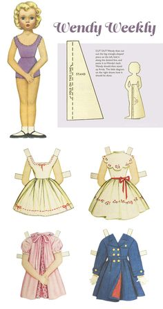 Wendy Weekly 1950s paper dolls | Adapted from 'The Australian Women's Weekly'.