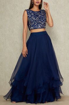 Buy Blue Color Crop Top Skirt by Akanksha Singh at Fresh Look Fashion Indian Gowns Dresses, Indian Fashion Dresses, Indian Designer Outfits, Indian Outfits, Lehenga Designs Simple, Simple Lehenga, Choli Designs, Lehenga Saree Design, Lehenga Choli
