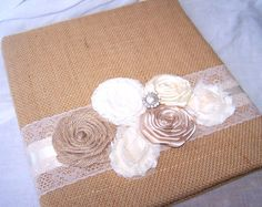 Burlap WEDDING GUEST BOOK with Photo Spot - Burlap and Lace, Ivory, Modern Shabby Chic Flower, Rosettes, Lace, Custom colors available